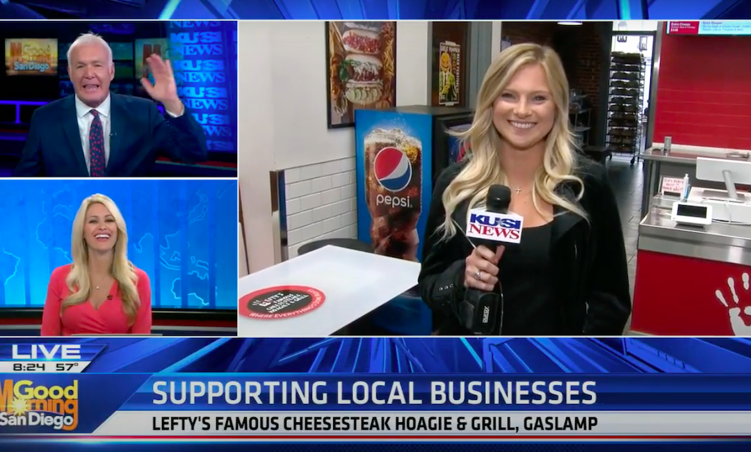 Our Client, Lefty's Cheesesteaks Featured on KUSI for Their Gaslamp Grand Opening!